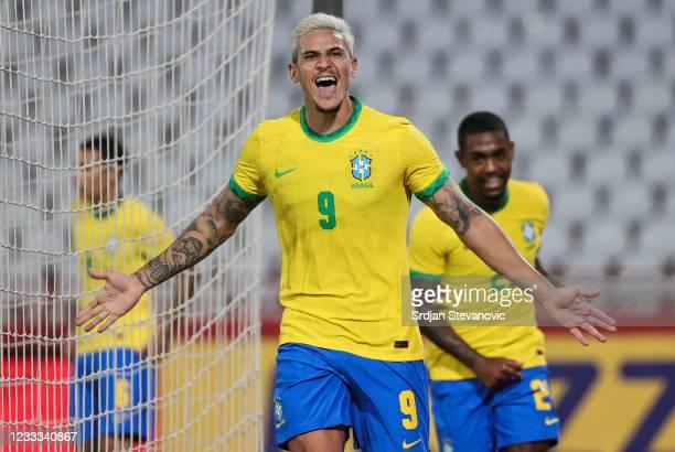 Pedro of Brazil celebrates after scoring a goal during the International football friendly match between Serbia U21 and Brazil U23 at stadium Rajko...
