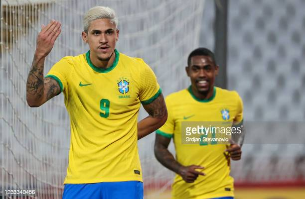 Pedro of Brazil celebrates after scoring a goal with Malcom during the International football friendly match between Serbia U21 and Brazil U23 at...