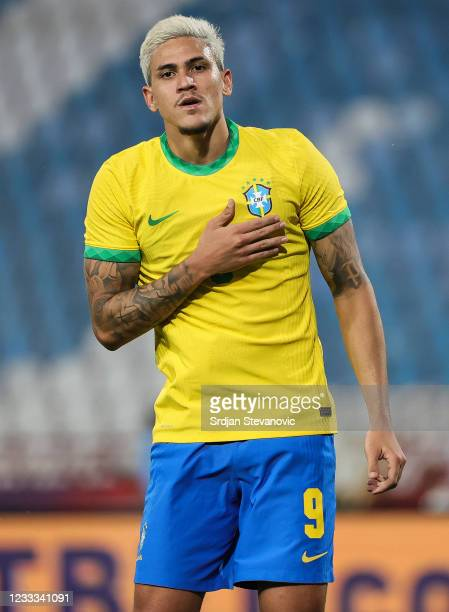 Pedro of Brazil celebrates after scoring his second goal during the International football friendly match between Serbia U21 and Brazil U23 at...