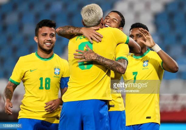 Pedro of Brazil celebrates after scoring his second goal with Guilherme Arana during the International football friendly match between Serbia U21 and...