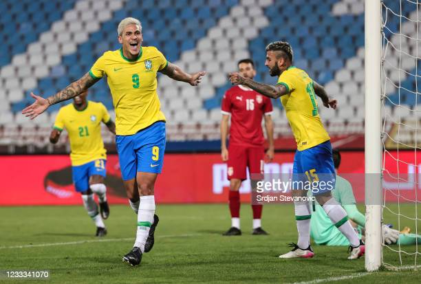 Pedro of Brazil celebrates after scoring his second goal with Liziero during the International football friendly match between Serbia U21 and Brazil...