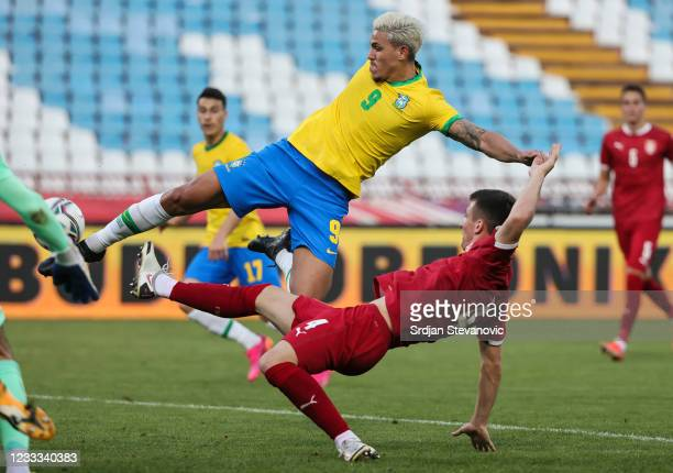 Pedro of Brazil in action against Danilo Mitrovic of Serbia during the International football friendly match between Serbia U21 and Brazil U23 at...
