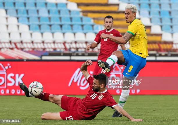 Pedro of Brazil in action against Nikola Marijanovic of Serbia during the International football friendly match between Serbia U21 and Brazil U23 at...