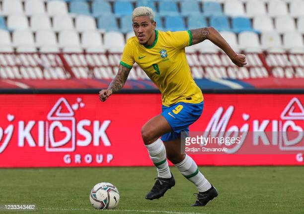 Pedro of Brazil in action during the International football friendly match between Serbia U21 and Brazil U23 at stadium Rajko Mitic on June 8, 2021...