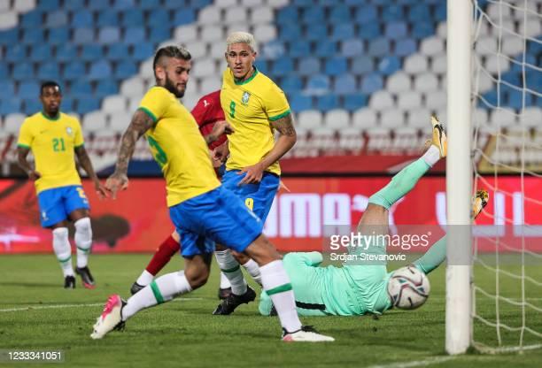 Pedro of Brazil scores his second goal during the International football friendly match between Serbia U21 and Brazil U23 at stadium Rajko Mitic on...