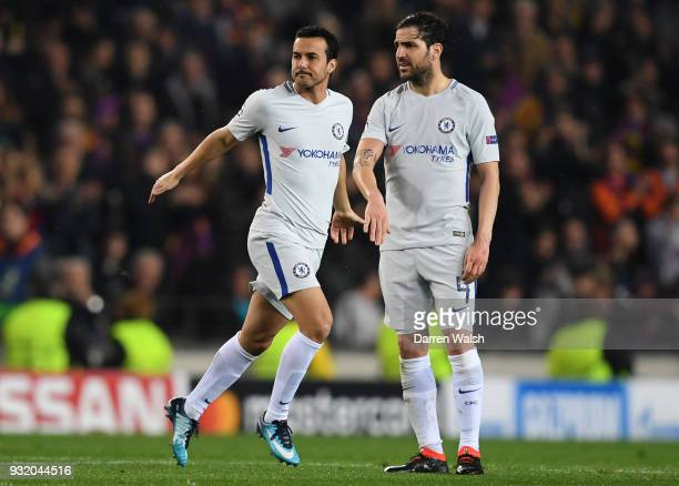 Pedro of Chelsea and Cesc Fabregas of Chelsea speak during the UEFA Champions League Round of 16 Second Leg match FC Barcelona and Chelsea FC at Camp...