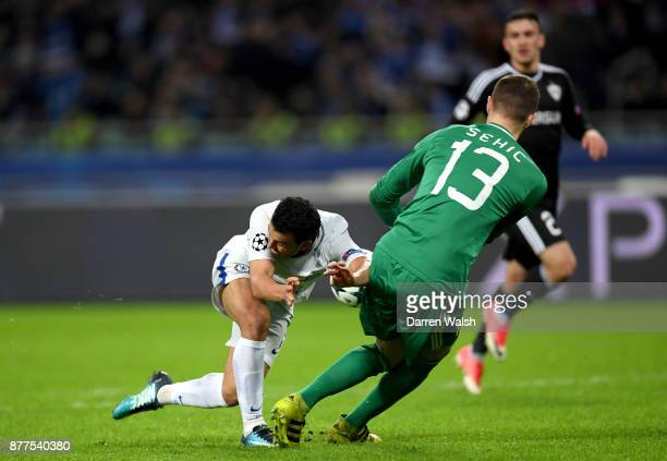 Pedro of Chelsea and Ibrahim Sehic of Qarabag FK battle for possession during the UEFA Champions League group C match between Qarabag FK and Chelsea...