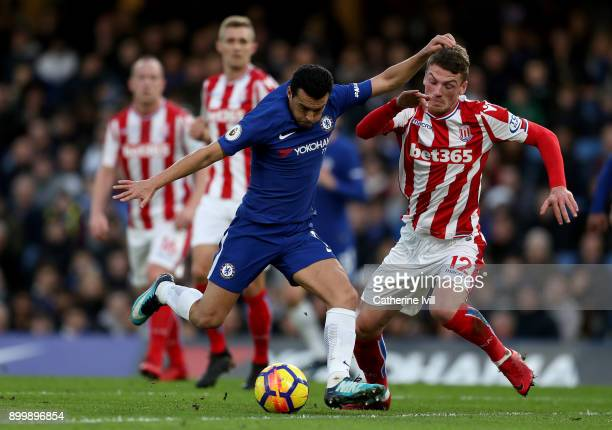 Pedro of Chelsea and Josh Tymon of Stoke City during the Premier League match between Chelsea and Stoke City at Stamford Bridge on December 30 2017...