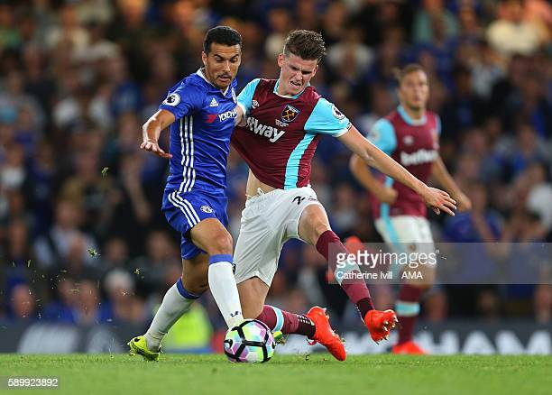 Pedro of Chelsea and Sam Byram of West Ham during the Premier League match between Chelsea and West Ham United at Stamford Bridge on August 15 2016...