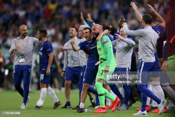 Pedro of Chelsea and Willy Caballero of Chelsea celebrates victory during the UEFA Europa League Final between Chelsea and Arsenal at Baku Olimpiya...