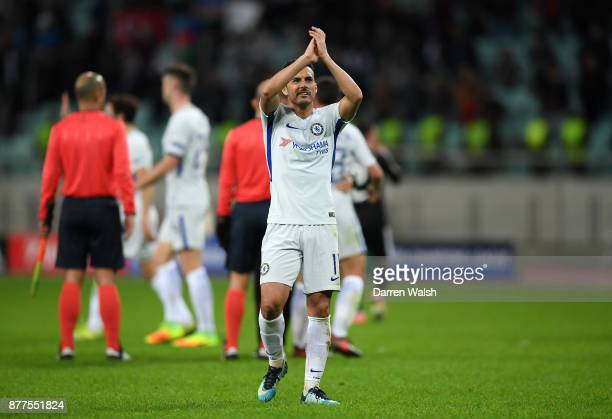 Pedro of Chelsea applauds the crowd after the UEFA Champions League group C match between Qarabag FK and Chelsea FC at Baki Olimpiya Stadionu on...