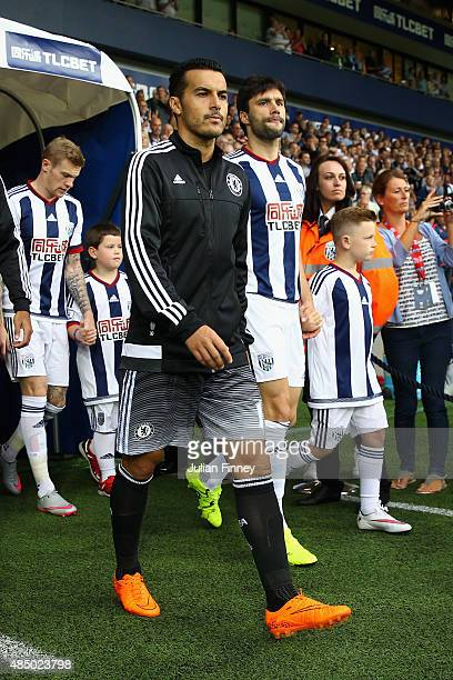 Pedro of Chelsea arrives during the Barclays Premier League match between West Bromwich Albion and Chelsea at the Hawthorns on August 23 2015 in West...