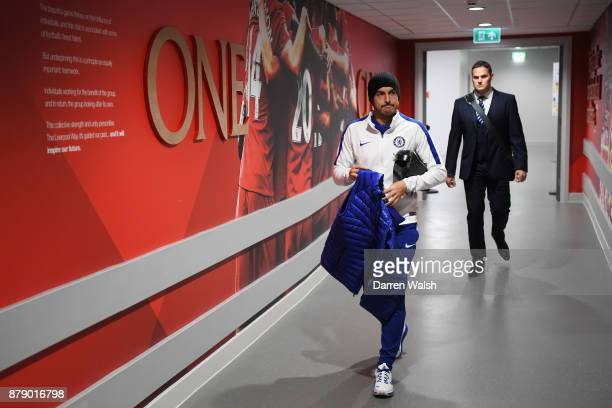 Pedro of Chelsea arrives prior to the Premier League match between Liverpool and Chelsea at Anfield on November 25 2017 in Liverpool England