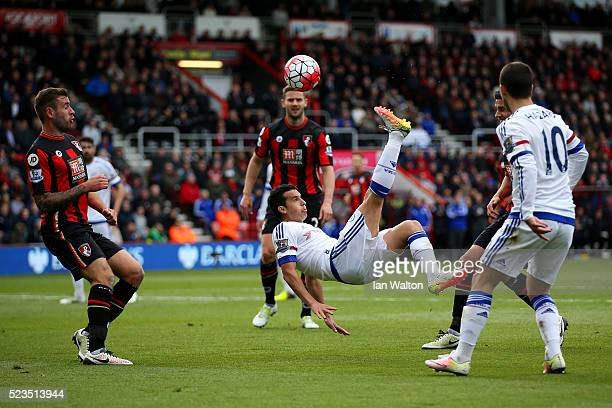 Pedro of Chelsea attempts an overhead kick during the Barclays Premier League match between AFC Bournemouth and Chelsea at the Vitality Stadium on...