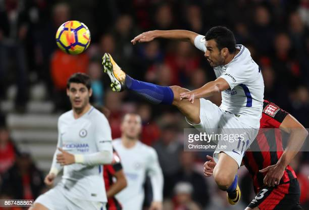 Pedro of Chelsea attempts to control the ball in mid air during the Premier League match between AFC Bournemouth and Chelsea at Vitality Stadium on...