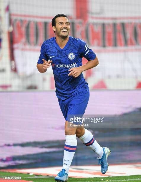 Pedro of Chelsea celebrates after he scores his sides fourth goal during the pre-season friendly match between RB Salzburg and FC Chelsea at Red Bull...