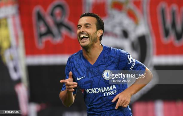 Pedro of Chelsea celebrates after he scores his sides fourth goal during the preseason friendly match between RB Salzburg and FC Chelsea at Red Bull...