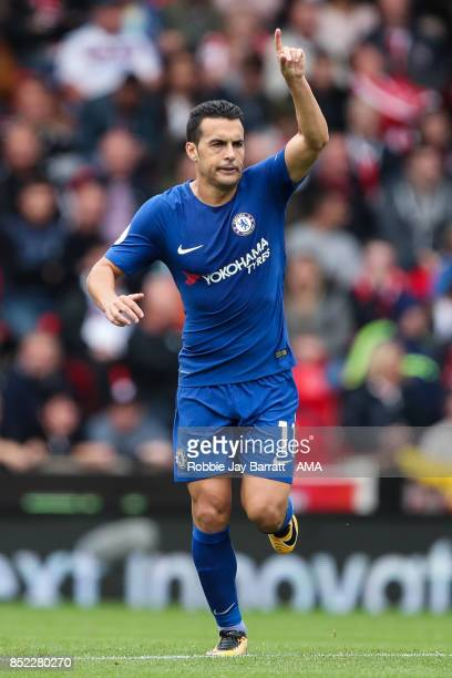 Pedro of Chelsea celebrates after scoring a goal to make it 02 during the Premier League match between Stoke City and Chelsea at Bet365 Stadium on...