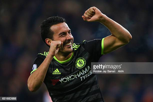 Pedro of Chelsea celebrates after scoring a goal to make it 03 during the Premier League match between Leicester City and Chelsea at The King Power...