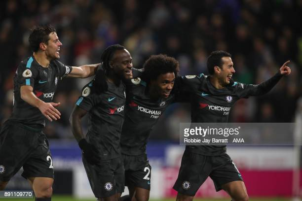 Pedro of Chelsea celebrates after scoring a goal to make it 03 during the Premier League match between Huddersfield Town and Chelsea at John Smith's...
