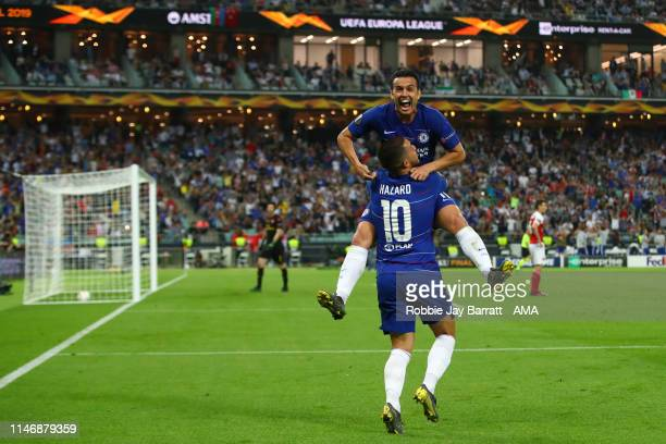 Pedro of Chelsea celebrates after scoring a goal to make it 2-0 during the UEFA Europa League Final between Chelsea and Arsenal at Baku Olimpiya...