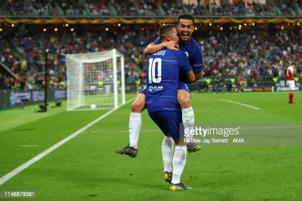 Pedro of Chelsea celebrates after scoring a goal to make it 20 during the UEFA Europa League Final between Chelsea and Arsenal at Baku Olimpiya...