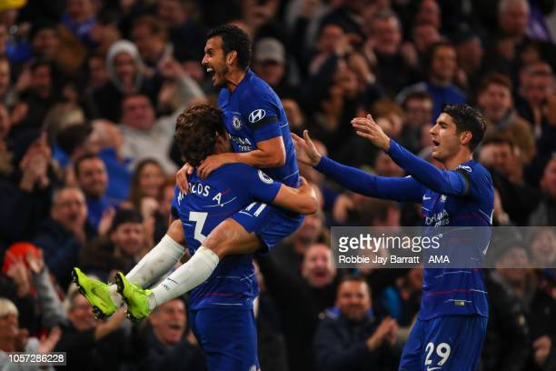 Pedro of Chelsea celebrates after scoring a goal to make it 31 during the Premier League match between Chelsea FC and Crystal Palace at Stamford...