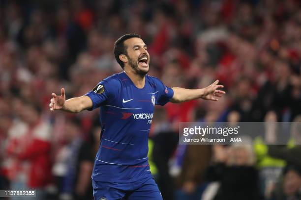 Pedro of Chelsea celebrates after scoring a goal to make it 41 during the UEFA Europa League Quarter Final Second Leg match between Chelsea and...