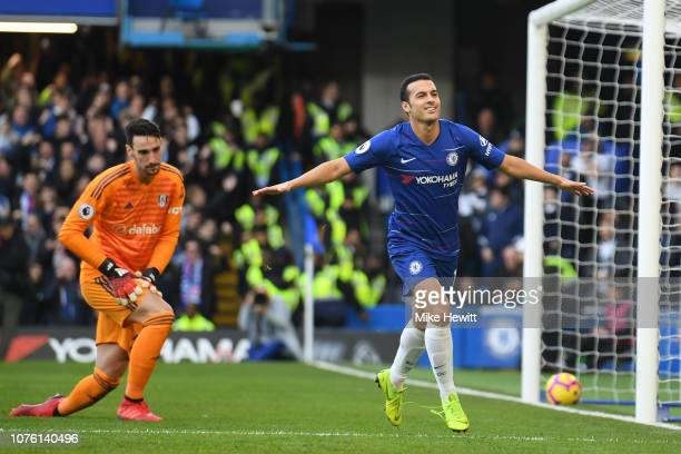 Pedro of Chelsea celebrates after scoring during the Premier League match between Chelsea FC and Fulham FC at Stamford Bridge on December 02 2018 in...