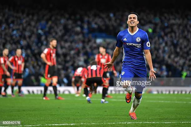 Pedro of Chelsea celebrates after scoring his sides first goal during the Premier League match between Chelsea and AFC Bournemouth at Stamford Bridge...