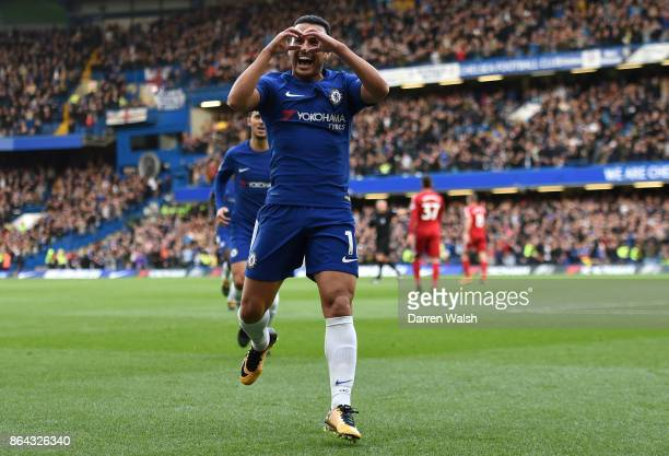 Pedro of Chelsea celebrates after scoring his sides first goal during the Premier League match between Chelsea and Watford at Stamford Bridge on...