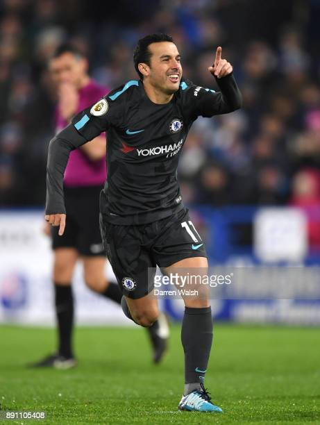 Pedro of Chelsea celebrates after scoring his sides third goal during the Premier League match between Huddersfield Town and Chelsea at John Smith's...