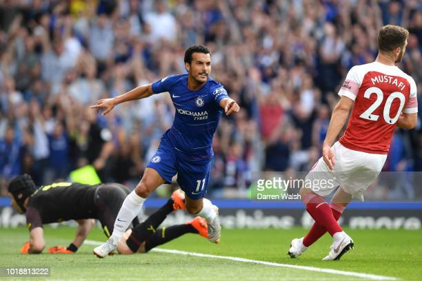 Pedro of Chelsea celebrates after scoring his team's first goal during the Premier League match between Chelsea FC and Arsenal FC at Stamford Bridge...