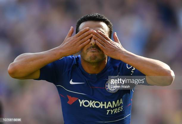 Pedro of Chelsea celebrates after scoring his team's first goal during the Premier League match between Chelsea FC and AFC Bournemouth at Stamford...
