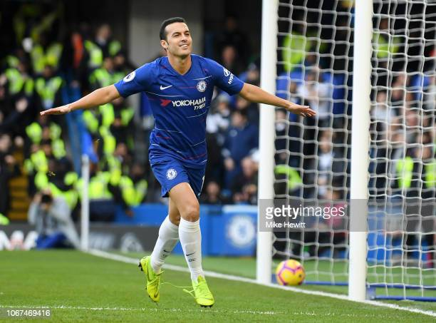 Pedro of Chelsea celebrates after scoring his team's first goal during the Premier League match between Chelsea FC and Fulham FC at Stamford Bridge...