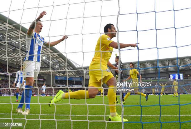 Pedro of Chelsea celebrates after scoring his team's first goal during the Premier League match between Brighton Hove Albion and Chelsea FC at...