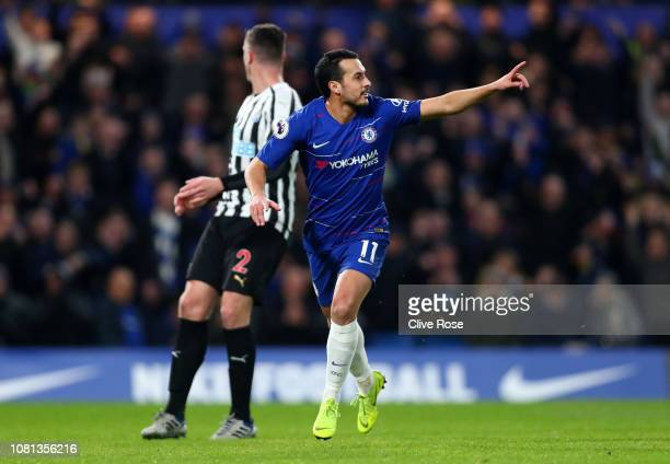 Pedro of Chelsea celebrates after scoring his team's first goal during the Premier League match between Chelsea FC and Newcastle United at Stamford...