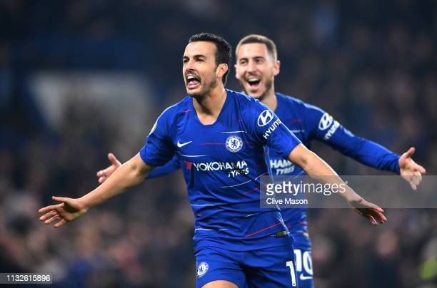 Pedro of Chelsea celebrates after scoring his team's first goal during the Premier League match between Chelsea FC and Tottenham Hotspur at Stamford...