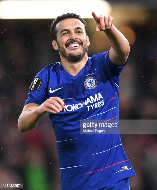 Pedro of Chelsea celebrates after scoring his team's first goal during the UEFA Europa League Round of 16 First Leg match between Chelsea and Dynamo...
