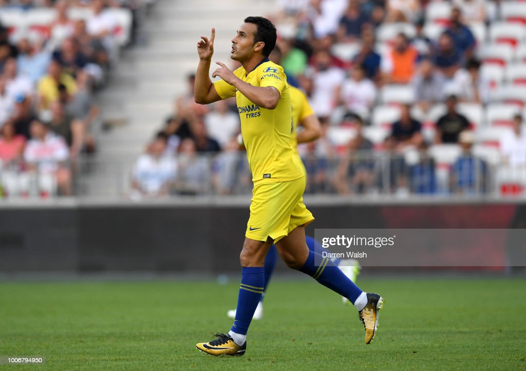 Pedro of Chelsea celebrates after scoring his team's first goal the International Champions Cup 2018 match between Chelsea and FC Internazionale at Allianz Riviera Stadium on July 28, 2018 in Nice, France.