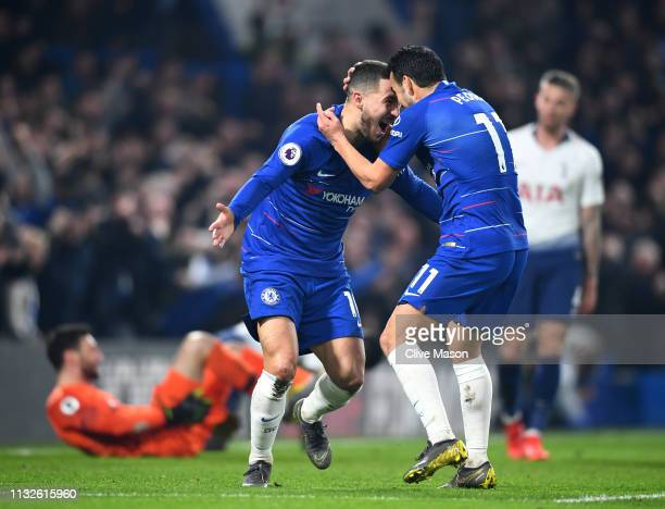 Pedro of Chelsea celebrates after scoring his team's first goal with Eden Hazard of Chelsea during the Premier League match between Chelsea FC and...