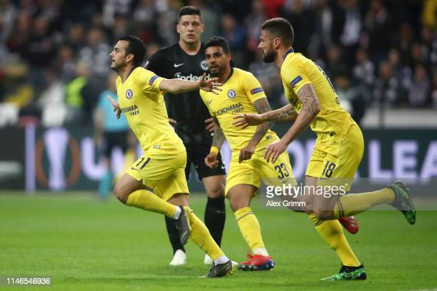 Pedro of Chelsea celebrates after scoring his team's first goal with Olivier Giroud and Emerson during the UEFA Europa League Semi Final First Leg...