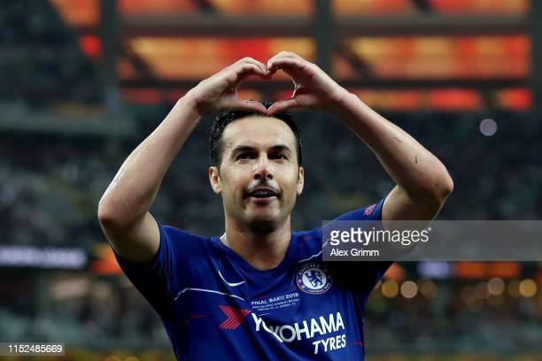Pedro of Chelsea celebrates after scoring his team's second goal during the UEFA Europa League Final between Chelsea and Arsenal at Baku Olimpiya...