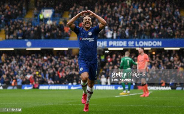 Pedro of Chelsea celebrates after scoring his team's second goal during the Premier League match between Chelsea FC and Everton FC at Stamford Bridge...
