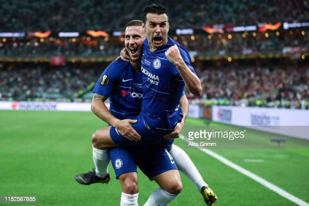Pedro of Chelsea celebrates after scoring his team's second goal with Eden Hazard of Chelsea during the UEFA Europa League Final between Chelsea and...