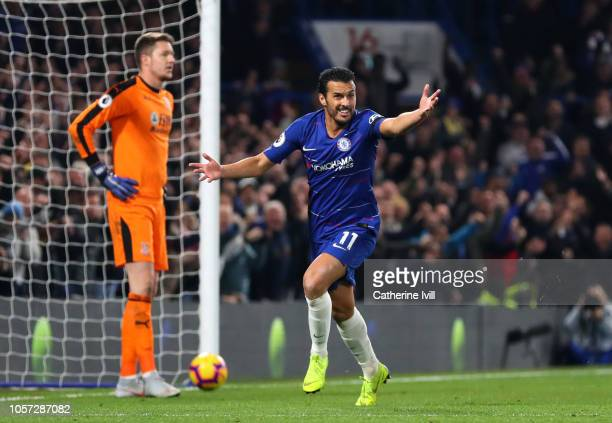 Pedro of Chelsea celebrates after scoring his team's third goal during the Premier League match between Chelsea FC and Crystal Palace at Stamford...