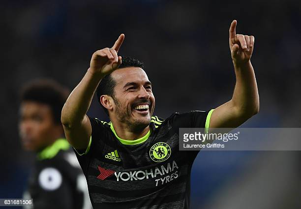 Pedro of Chelsea celebrates after scoring his team's third goal during the Premier League match between Leicester City and Chelsea at The King Power...