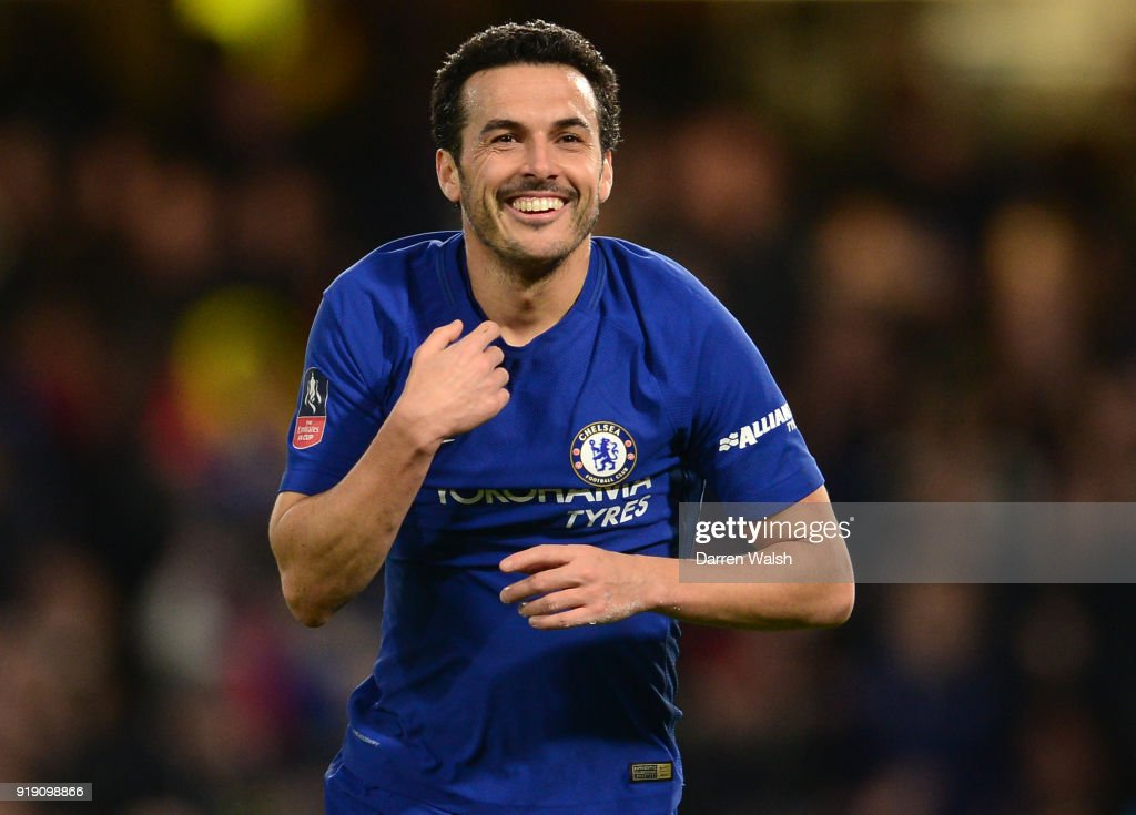 Pedro of Chelsea celebrates after scoring the second goal during the Emirates FA Cup Fifth Round match between Chelsea and Hull City at Stamford Bridge on February 16, 2018 in London, England.