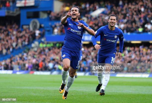 Pedro of Chelsea celebrates as he scores their first goal during the Premier League match between Chelsea and Watford at Stamford Bridge on October...