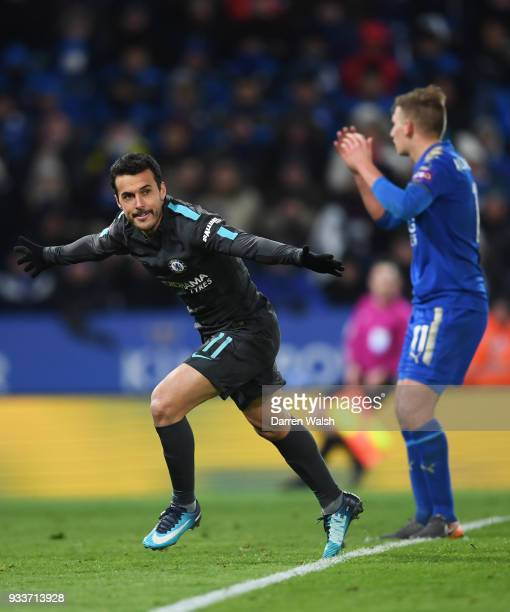 Pedro of Chelsea celebrates as he scores their second goal during The Emirates FA Cup Quarter Final match between Leicester City and Chelsea at The...
